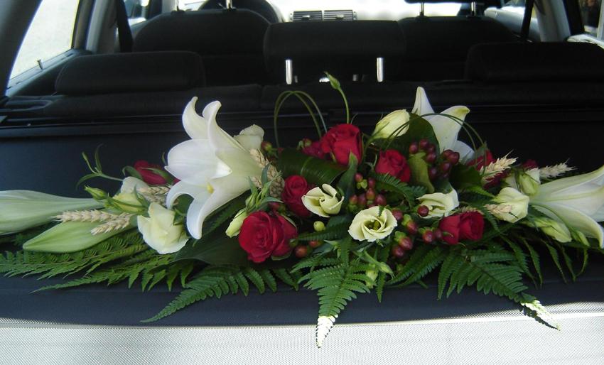 Nos fleurs pour plage,arrière de voiture pour un mariage